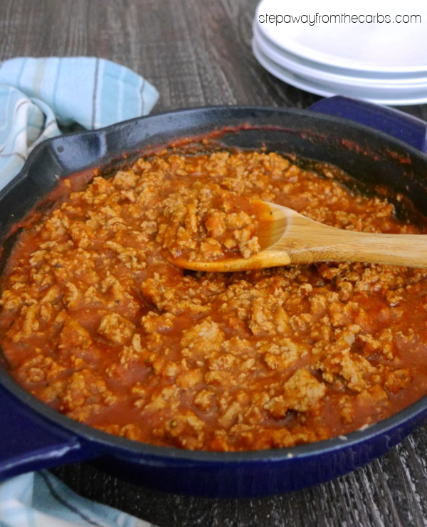 Low Carb Turkey Meat Sauce - a keto friendly recipe that is great for families!
