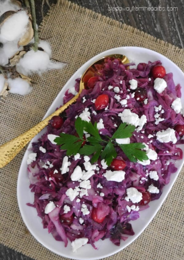 Red Cabbage with Cranberries and Goat's Cheese - a delicious low carb side dish recipe for Thanksgiving or Christmas!