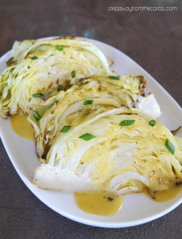 Roasted Cabbage Wedges with Mustard Butter Sauce - a delicious low carb and keto side dish recipe!