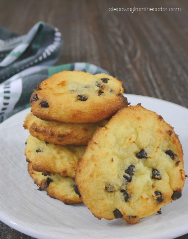 Low Carb Chocolate Chip Cookies - made from fathead dough! They're gluten free, keto, LCHF, and sugar free!