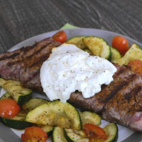 Steak with Burrata and Grilled Veggies
