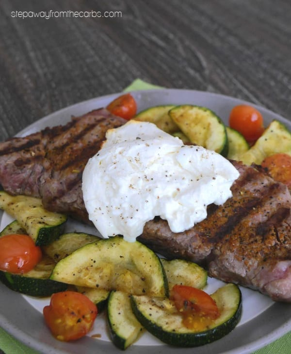 Steak with Burrata and Grilled Veggies - a delicious and easy keto and low carb meal!