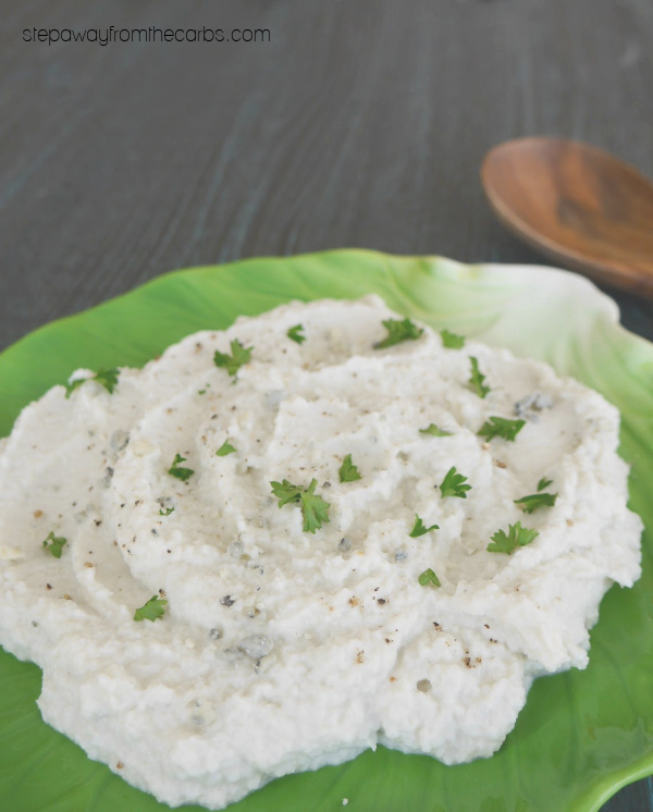 Blue Cheese Mashed Cauliflower - a low carb and keto side dish with a full-on flavor!