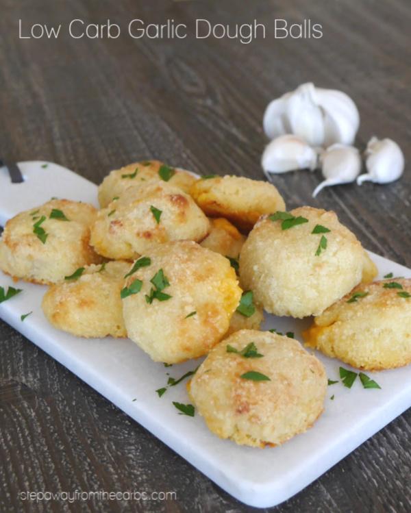 Low Carb Garlic Dough Balls - made with Fathead dough! Gluten free, LCHF and keto recipe.