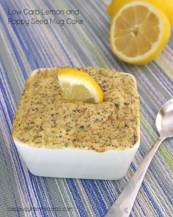 Low Carb Lemon and Poppy Seed Mug Cake - a sugar free, keto, and gluten free sweet treat or snack!
