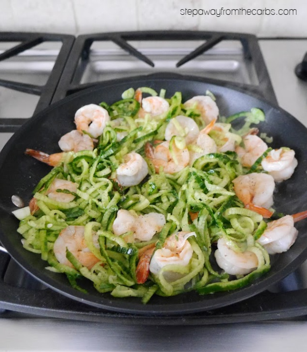 Garlic Shrimp with Cucumber Noodles - a fragrant low carb, gluten free, and keto meal!