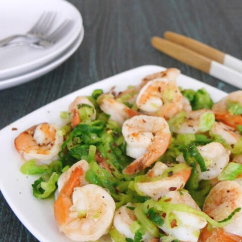 Garlic Shrimp with Cucumber Noodles