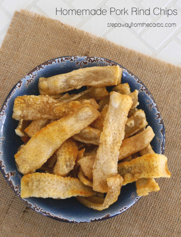 Homemade Pork Rind Chips - a crunchy, salty, and crispy zero carb snack!