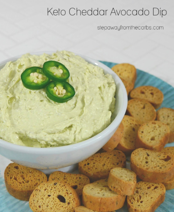 Keto Cheddar Avocado Dip - serve with low carb chips as an appetizer or snack!