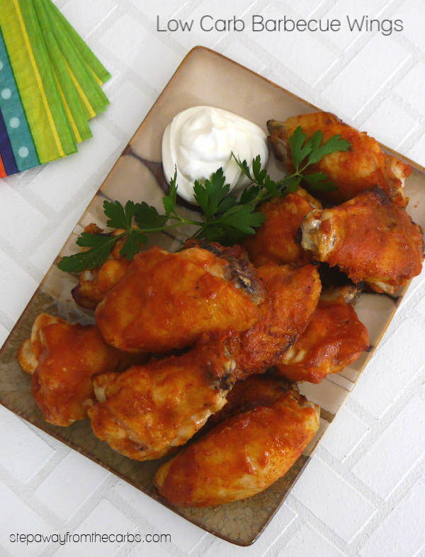 Low Carb Barbecue Wings - roasted chicken wings with a delicious sugar free barbecue sauce!