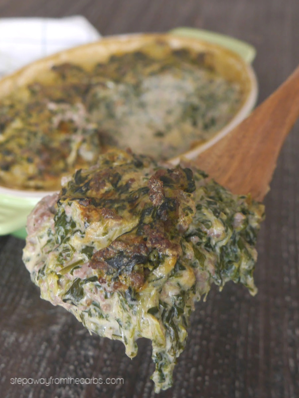 Low Carb Beef Florentine Casserole - a comforting keto, LCHF, and gluten free recipe.