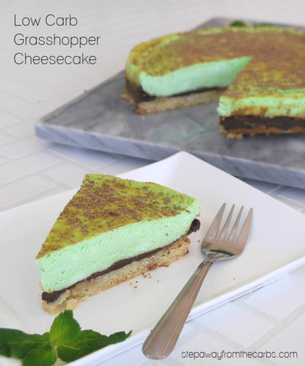 Low Carb Grasshopper Cheesecake - a fantastic chocolate and mint dessert that's gluten free and keto friendly!