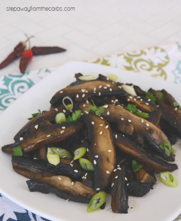 Low Carb Mushrooms with a Sweet and Spicy Sauce - a super savory and delicious side dish recipe