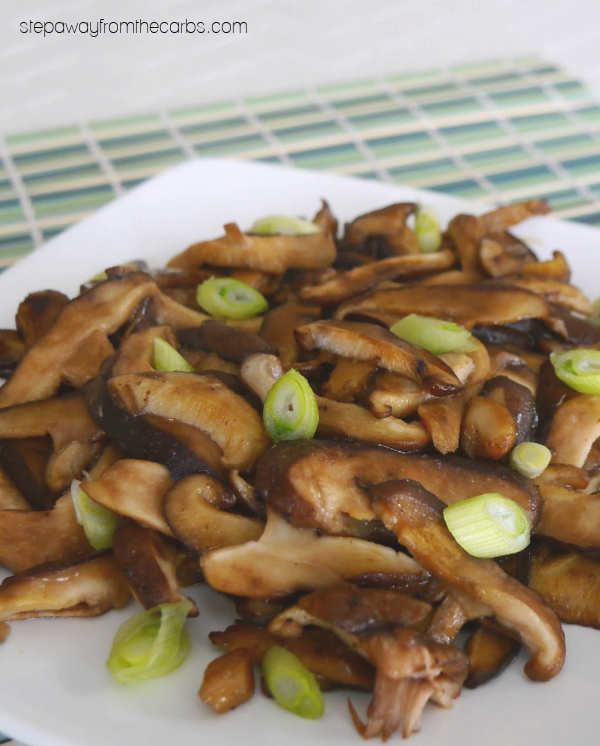 Wasabi Soy Shiitake Mushrooms - a low carb Japanese-inspired side dish recipe