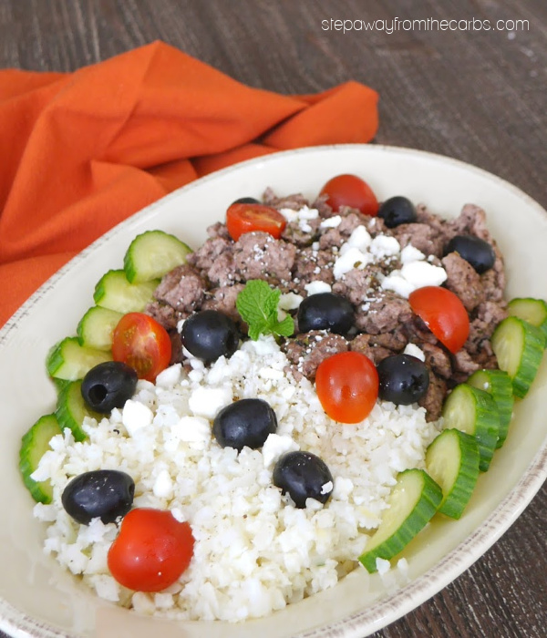 Low Carb Greek Lamb Platter - a delicious and flavorful dish with cauliflower rice, ground lamb, feta, olives, and more!