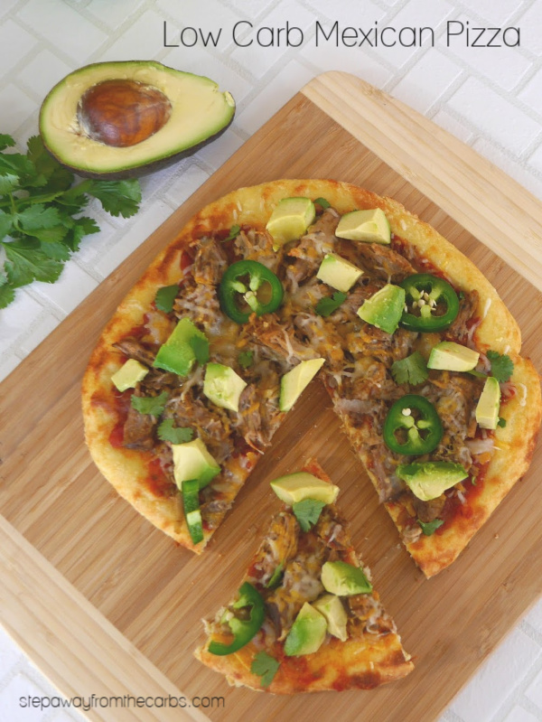 Low Carb Mexican Pizza - made with Fathead dough, salsa, keto carnitas, cheese, and more!