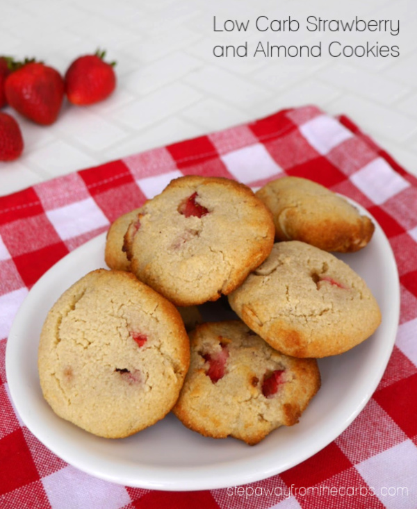 Low Carb Strawberry and Almond Cookies - a yummy gluten free, sugar free, and keto recipe!
