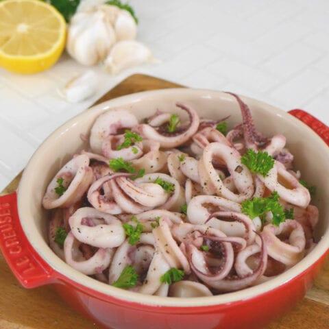 Pan Fried Garlic Calamari