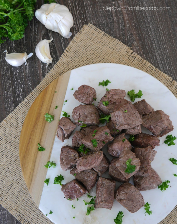 Garlic Steak Bites - a zero carb recipe to serve as an appetizer, snack, or meal!