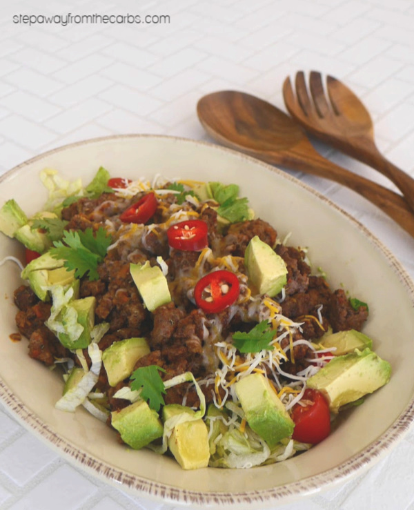 Low Carb Taco Salad - ground beef, avocado, salsa, lettuce, cheese, and more!