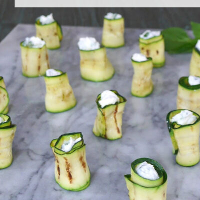 Keto Zucchini Rolls with Goat's Cheese and Basil