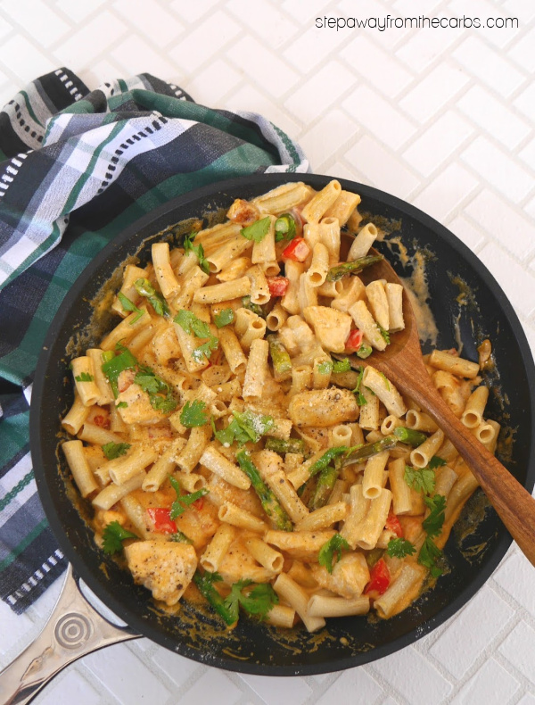 Low Carb Chicken Chipotle Pasta - a spicy, creamy, and filling meal!