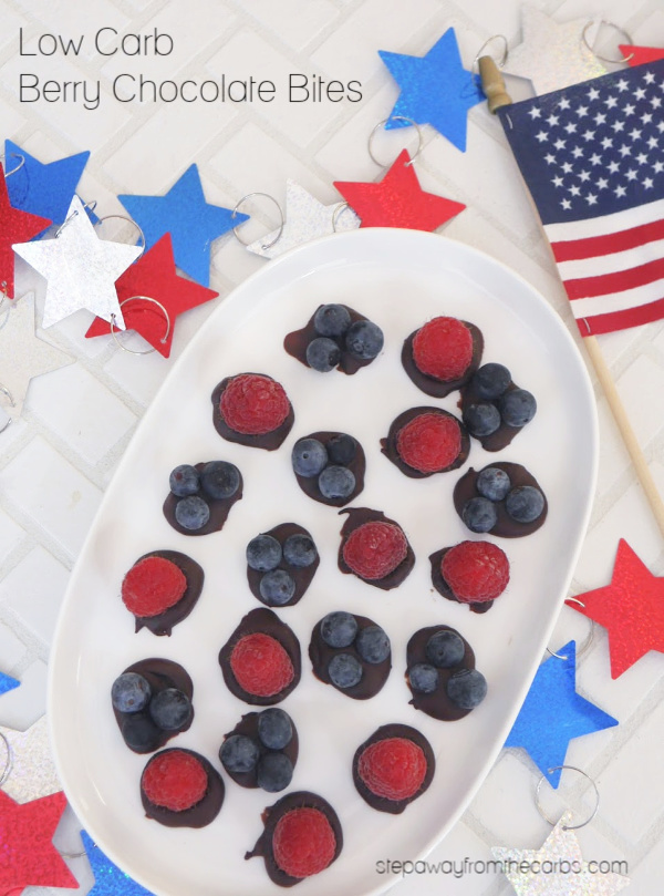 Low Carb Berry Chocolate Bites - quick and easy sweet treats for Fourth of July!