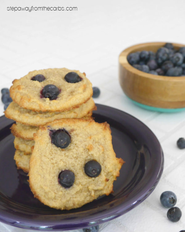 Low Carb Blueberry Cookies - soft and chewy sugar free treats