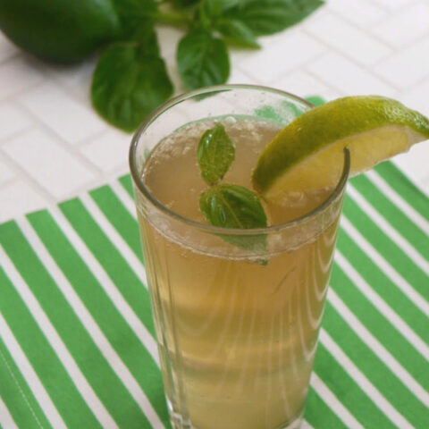 Low Carb Basil Lime Fizz
