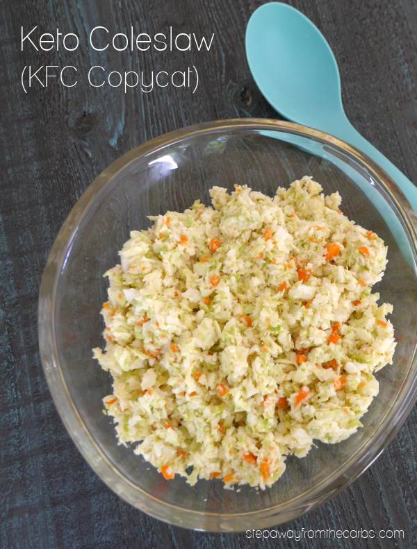 Keto Coleslaw - a KFC copycat version! It contains a fraction of the carbs of the original and is sugar free.