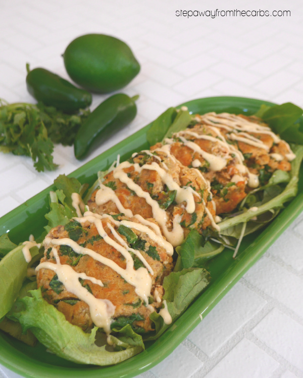 Keto Salmon Fishcakes with jalapeño, lime, and cilantro! Low carb and gluten free recipe.