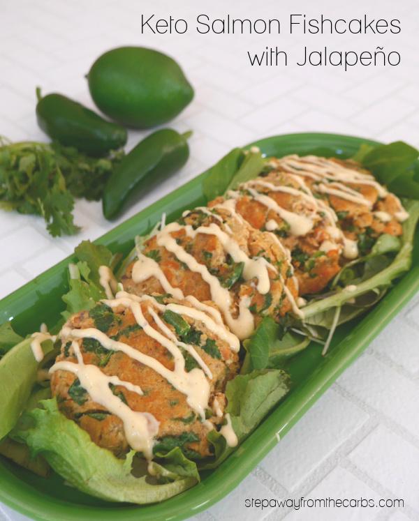 Keto Salmon Fishcakes with jalapeño, lime, and cilantro! Low carb and gluten free recipe.