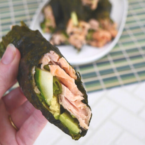Low Carb Salmon Sushi Hand Rolls