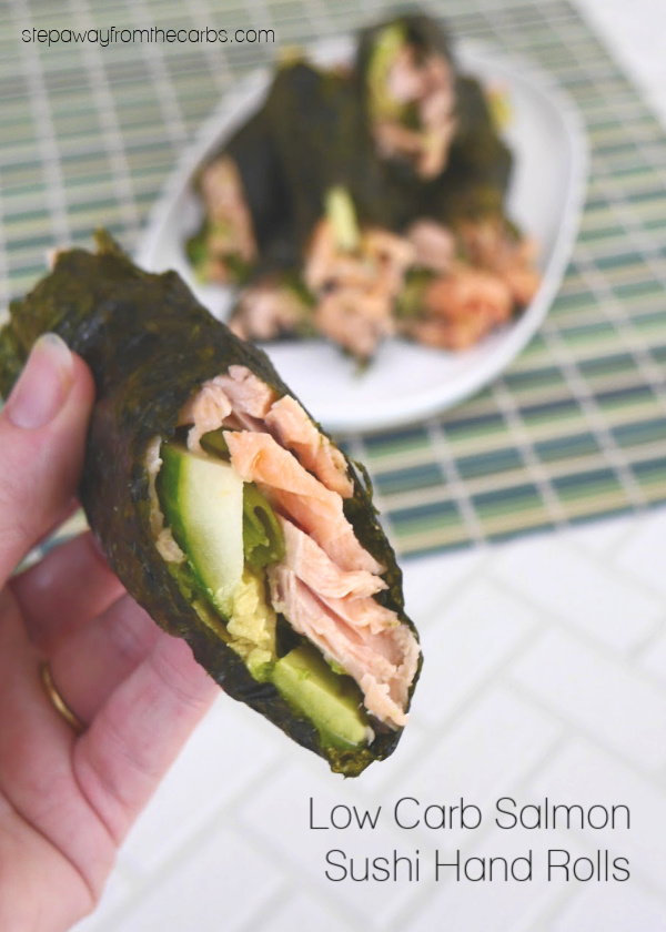 Low Carb Salmon Sushi Hand Rolls - made with cooked fish, avocado, and cucumber. Gluten free and keto.