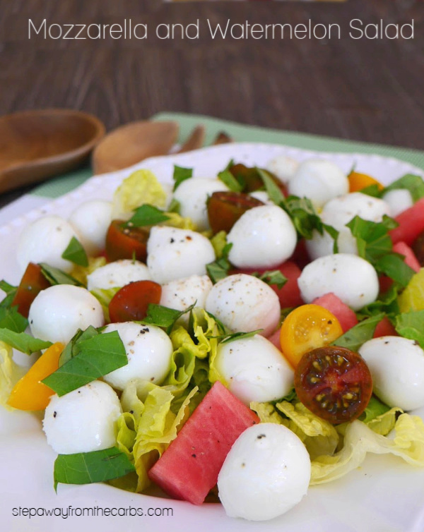 Mozzarella and Watermelon Salad - a colorful and refreshing low carb dish