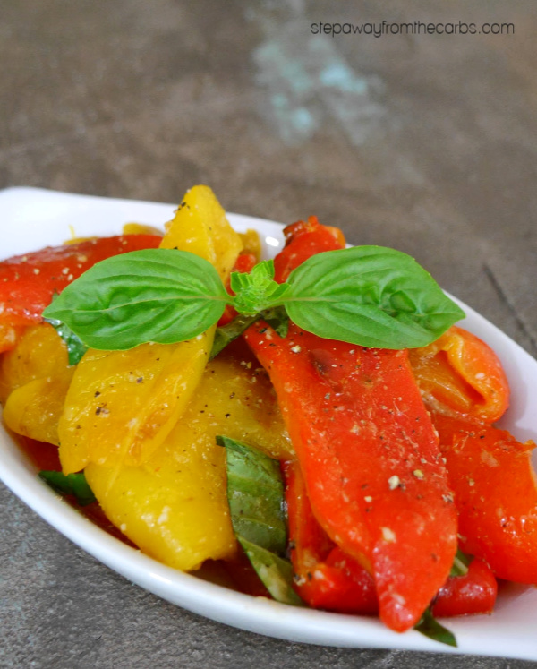 Roasted Peppers with Garlic and Basil - a low carb Italian-inspired side dish recipe
