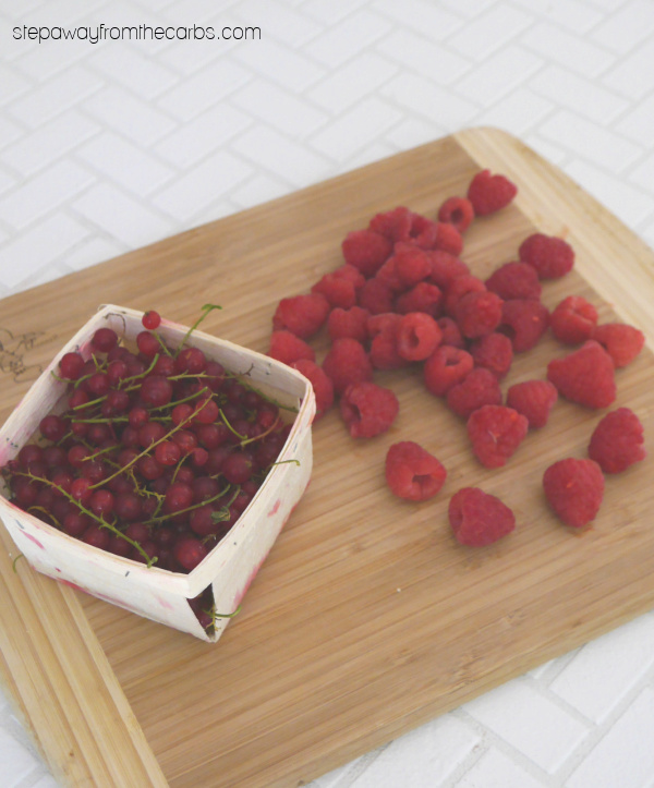 Low Carb Raspberry and Redcurrant Sorbet - a sugar free and keto friendly frozen dessert!