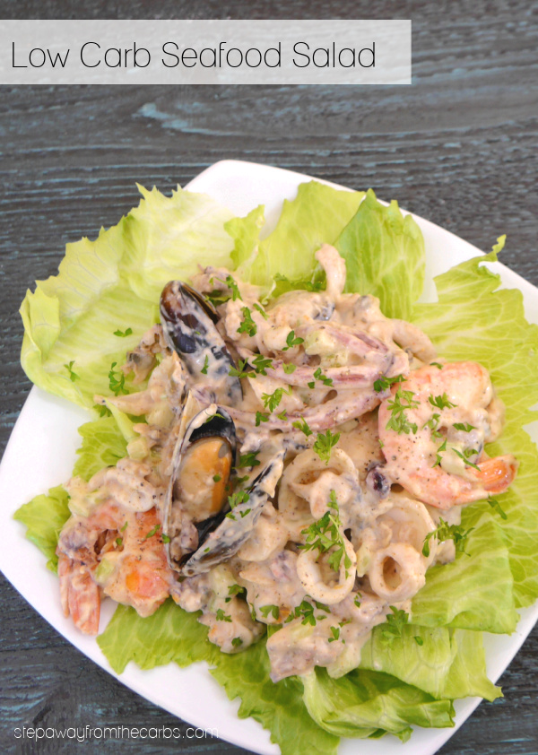 Low Carb Seafood Salad - a quick and easy recipe with a medley of seafood in a spiced mayo dressing