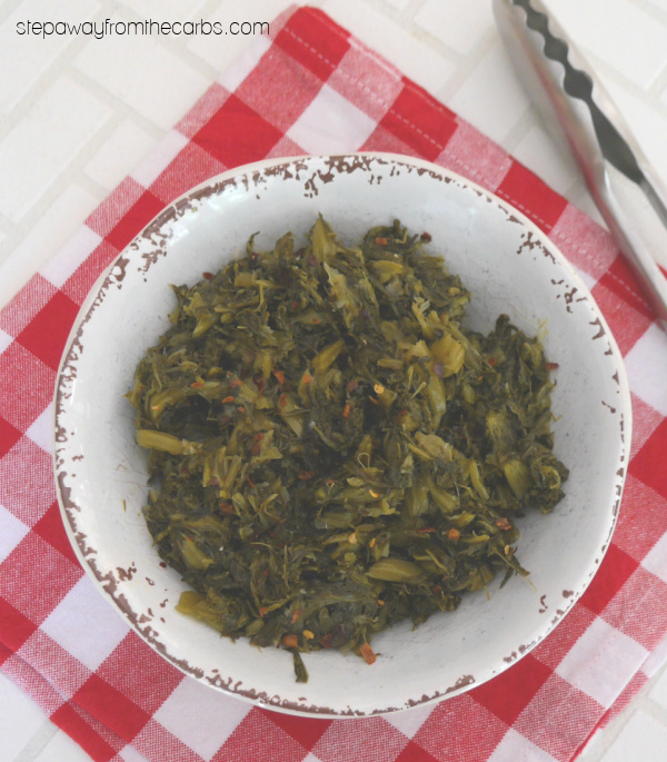 Spicy Stir-Fried Turnip Greens - low carb and keto side dish