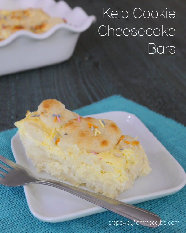 Keto Cookie Cheesecake Bars - a rich and filling low carb sweet treat!