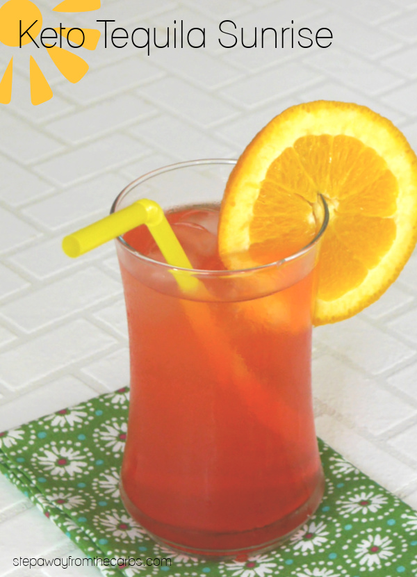 Keto Tequila Sunrise - a refreshing low carb version of the classic cocktail!