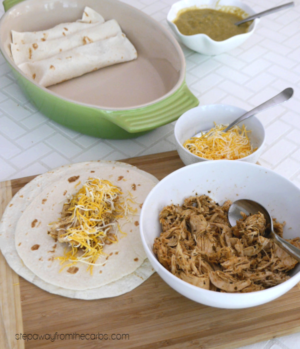 Low Carb Green Chile Enchiladas - a deliciously tasty and filling Mexican-inspired meal!