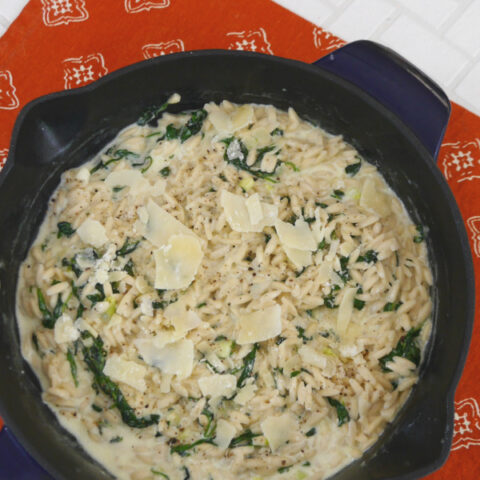 Low Carb Orzo with Spinach and Parmesan