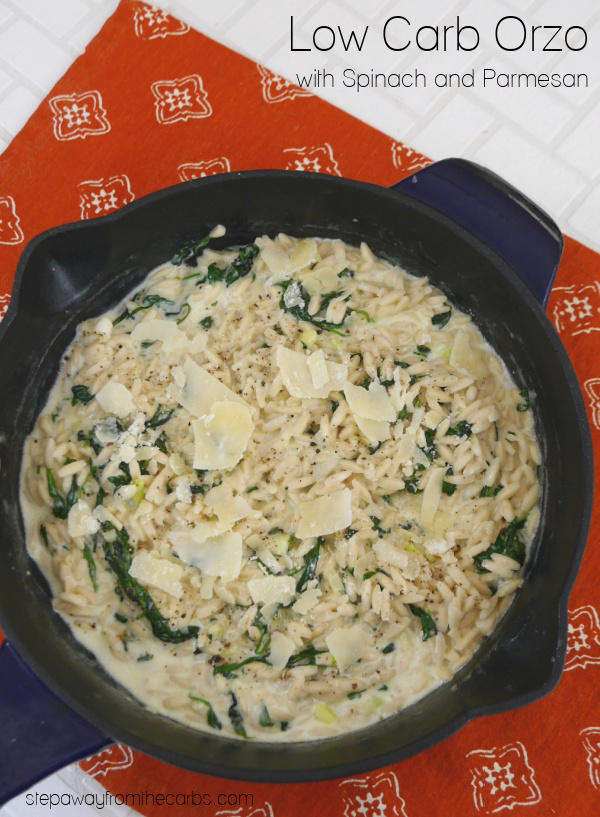 Low Carb Orzo with Spinach and Parmesan - a creamy and filling vegetarian recipe