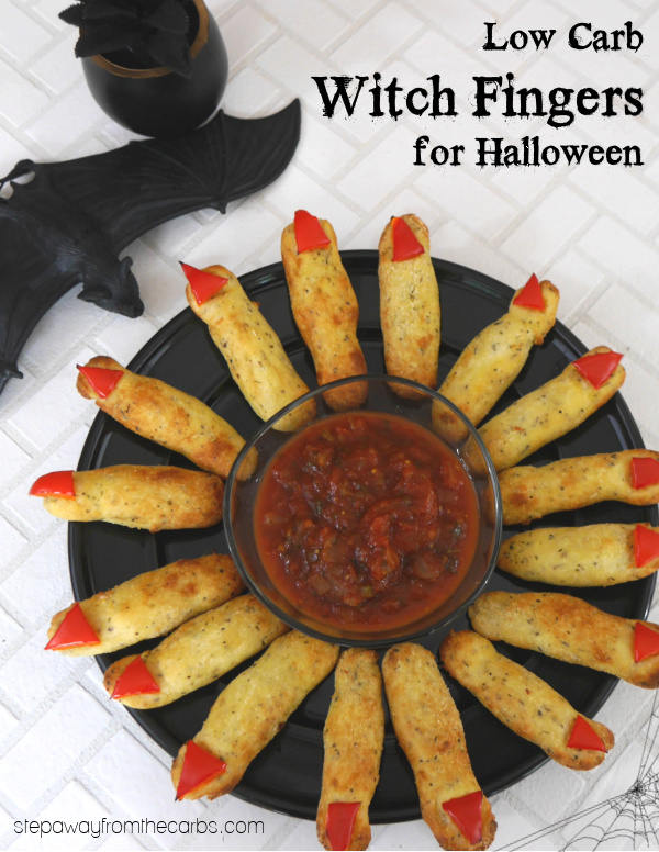 Low Carb Witch Fingers for Halloween - a fun snack made with fathead dough! Gluten free recipe.