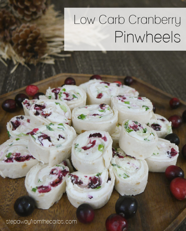 Low Carb Cranberry Pinwheels - with cream cheese, feta, and green onions. A pretty appetizer for the holidays!