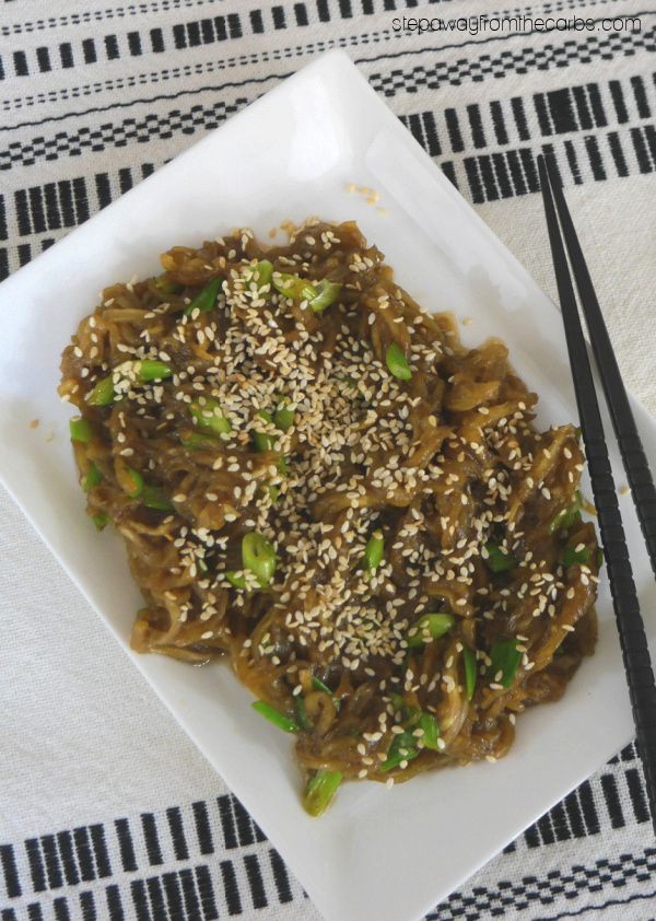 "Low Carb ""Soba"" Noodles - a gluten free alternative to a classic Japanese dish made from eggplant"