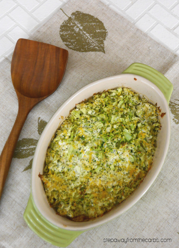 Easy Broccoli-Rice Casserole - a deliciously cheesy side dish that is low carb and keto friendly!