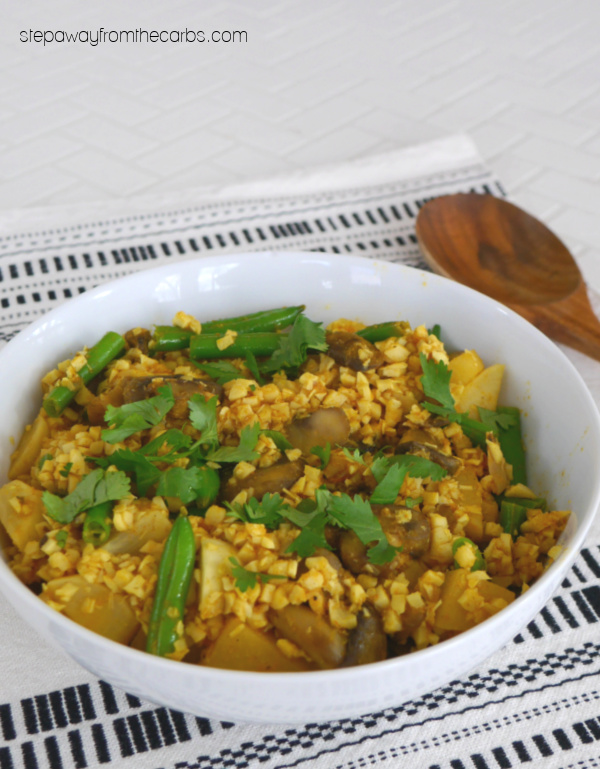 """Low Carb Vegetable Biryani - an adapted version of the classic Indian curry with Palmini """"rice"""""""