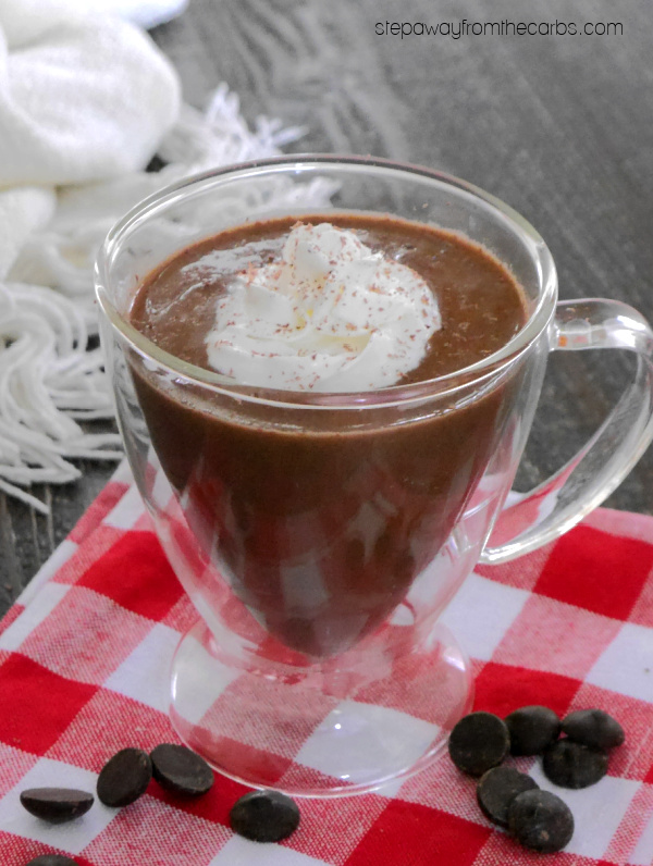 """Low Carb """"Nutella"""" Hot Chocolate - a warming and delicious drink that is sugar free and keto friendly!"""